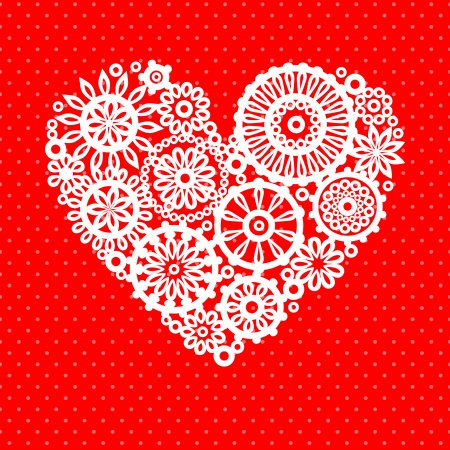 crochet: White crochet lace flowers heart on red romantic greeting card, vector background