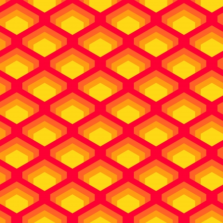 overlapped: Geometric overlapped squares seamless pattern in red and yellow, vector
