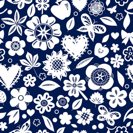 White flowers butterflies and hearts on navy blue seamless pattern, vector Vector