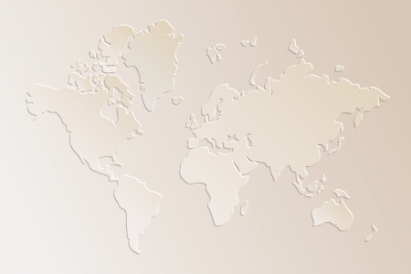 Subtle 3d paper world map illustration in beige, vector Ilustração