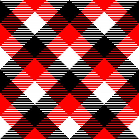 Checkered gingham fabric seamless pattern in black white and red, vector Vector