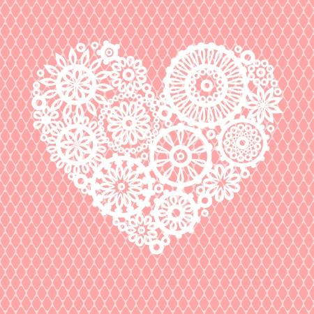 Crochet Encaje Blanco Corazón De Las Flores En La Malla De Color ...