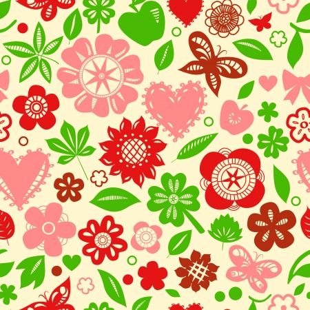 Colorful red and green flowers leaves and hearts spring seamless pattern, vector Vector