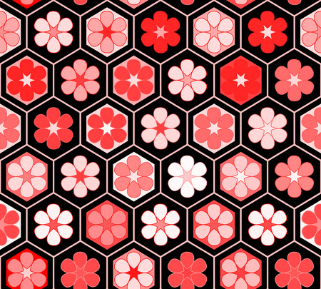 a pink cell: Red flowers in a hexagon geometric structure seamless pattern