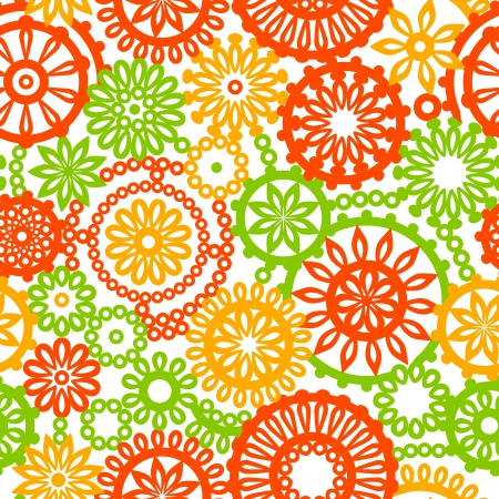 Filigree floral seamless pattern in orange green yellow and white Vector
