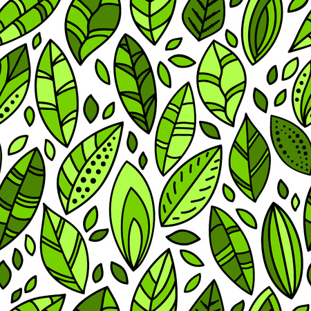 Green fresh leaves doodles on white seamless pattern