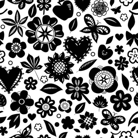 Black and white flowers and hearts silhoettes seamless pattern Vector