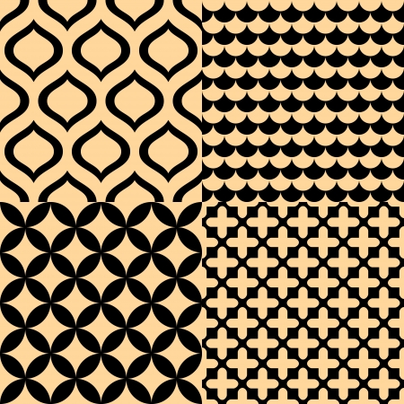 ocher: Beige and black geometric seamless patterns set