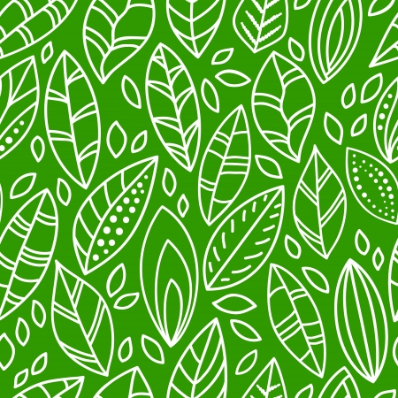 leaf line: Green and white doodle leaves seamless pattern