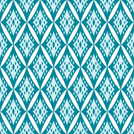 Simple geometric ikat seamless pattern in blue, vector Vector
