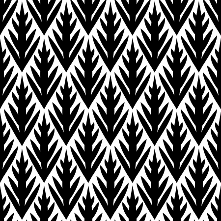 Black and white simple trees geometric ikat seamless pattern, vector Vector