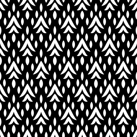 Black and white simple geometric ikat seamless pattern, vector Vector