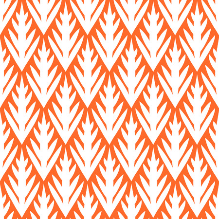 Simple trees geometric ikat seamless pattern in orange, vector Vector
