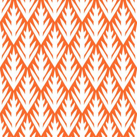 Simple trees geometric ikat seamless pattern in orange, vector Illustration