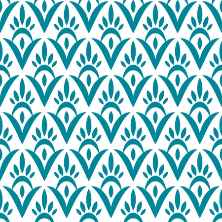 Simple floral geometric ikat seamless pattern in blue, vector Vector