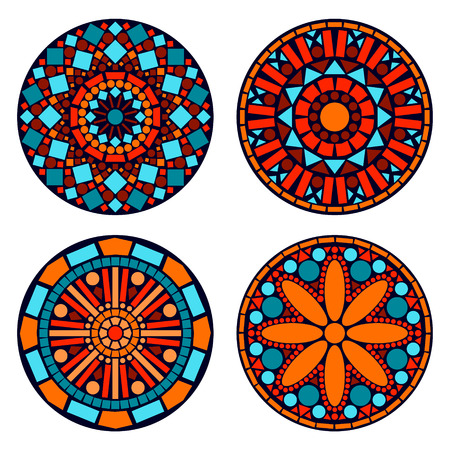 Colorful circle floral mandalas set in blue red and orange, vector