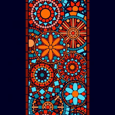 カラフルなサークル花マンダラ青赤、オレンジ、ベクトルでシームレスな境界線  イラスト・ベクター素材