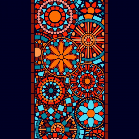 indian art: Colorful circle flower mandalas seamless border in blue red and orange, vector