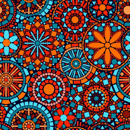 mandalas: Colorful circle flower mandalas seamless pattern in blue red and orange, vector