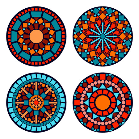 Colorful circle floral ethnic mandalas set in blue red and orange, vector Çizim