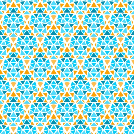 Blue yellow and white diamond shape geometric mosaic seamless pattern Vector