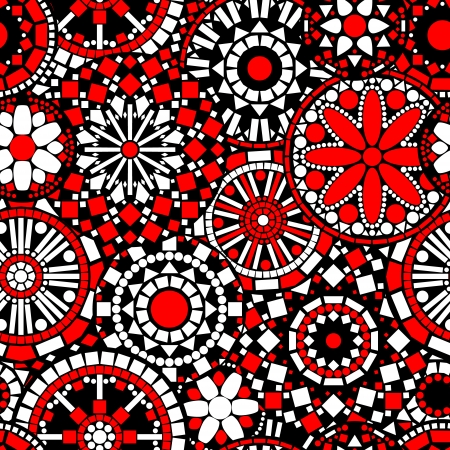 Colorful circle flower mandalas seamless pattern in black white and red