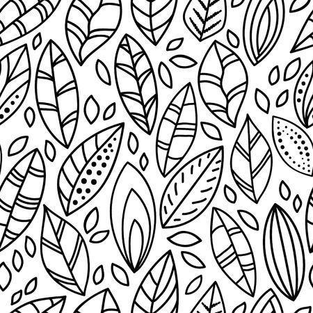 黒と白の落書き葉シームレス パターン
