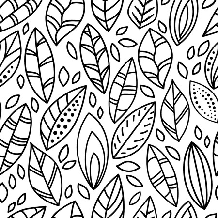 Black and white doodle leaves seamless pattern Vettoriali
