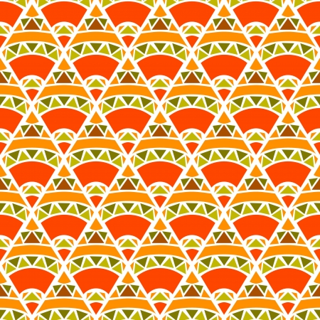 Orange and green geometric mosaic seamless pattern Vector