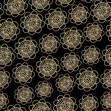 Beige subtle lacy flowers on black seamless pattern Vector