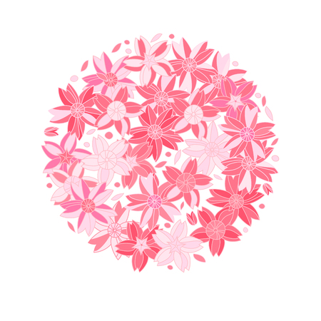 Pink sakura flowers on white circle composition Vector