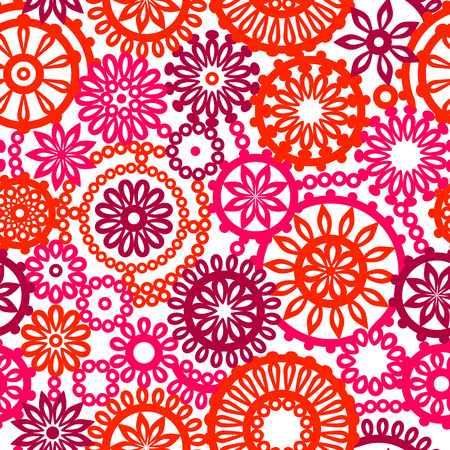 Colorful pink and red geometric flowers on white seamless pattern, vector Vector