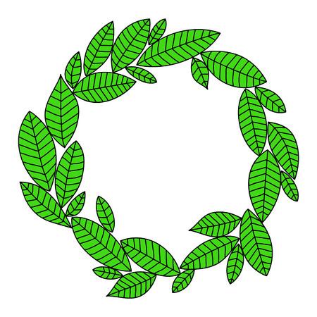 black branch: Green fresh laurel leaves wreath frame on white background