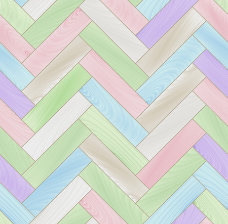 Pastel colored realistic wooden floor herringbone parquet seamless pattern Vector