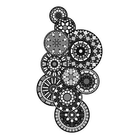 indian tattoo: Black white and grey abstract indian floral geometric mandalas illustration