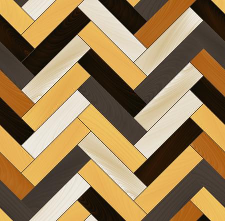 カラフルな現実的な木製の床のヘリンボーン寄木細工シームレスなパターン