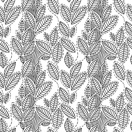 black branch: Black and white striped leaves seamless pattern