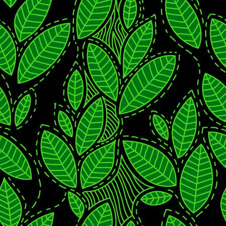 Tea tree: Fresh green leaves on black seamless pattern