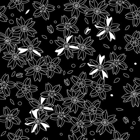 flor de sakura: Blanco y negro asiático flores sakura patrón transparente Vectores