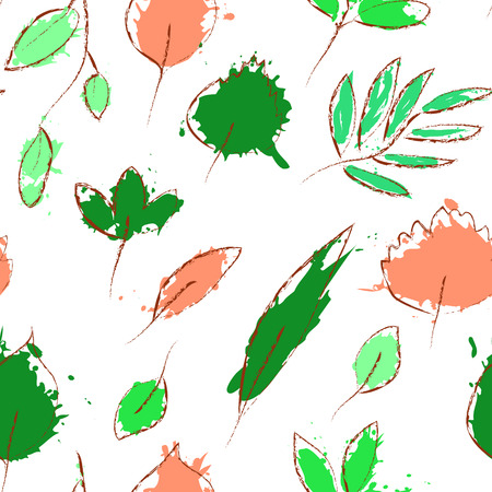Fresh green and pink leaves on white grunge seamless pattern Vector