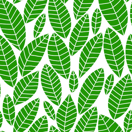 Fresh green leaves on white seamless pattern, vector Vector