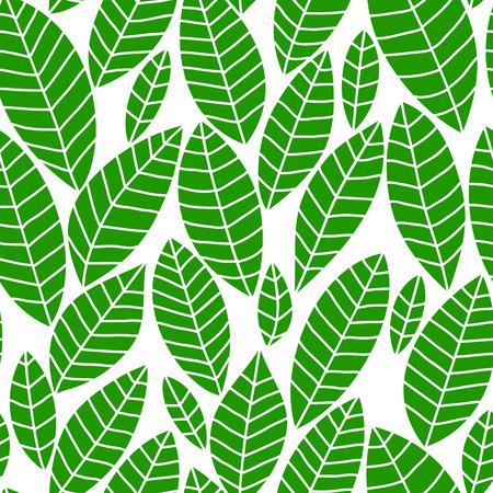 Fresh green leaves on white seamless pattern, vector Stock Vector - 26078323