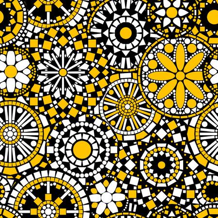 黒、白と黄色のベクトルでサークル花まんだらシームレスなパターン