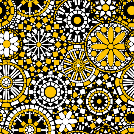 Circle flower mandalas seamless pattern in black white and yellow, vector Vettoriali