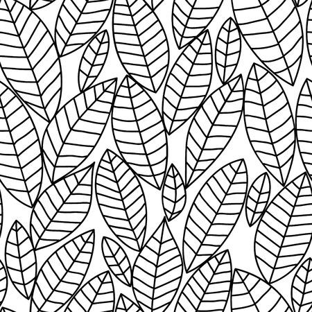 黒と白の葉のシームレスなパターン、ベクトル
