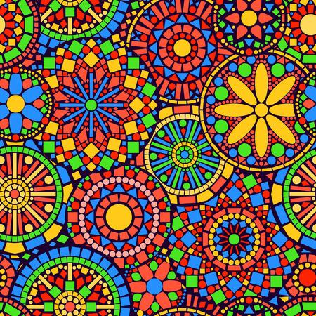カラフルな円花まんだらのシームレスなパターン、ベクトル  イラスト・ベクター素材