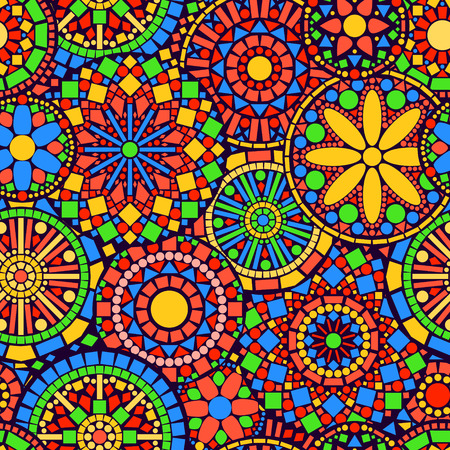 Colorful circle flower mandalas seamless pattern, vector
