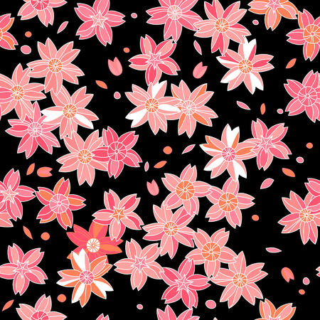 Fleurs de sakura asiatique roses sur, seamless, noir, vecteur Banque d'images - 26078329