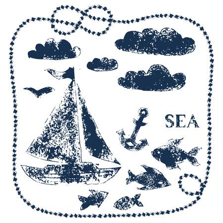 azul marino: Sea temática elementos impresos a mano - barco, nubes, peces, ancla, fondo vector