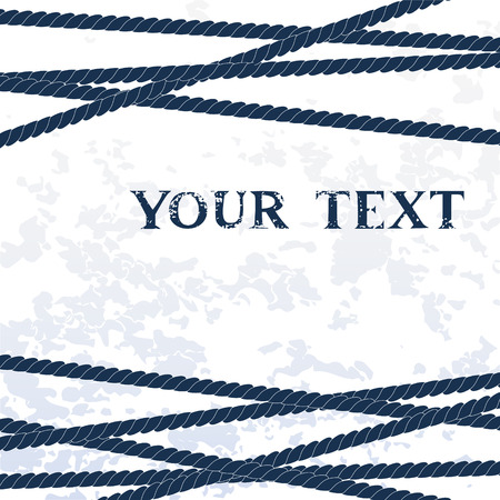 Navy blue ropes on white grunge background for your text, vector